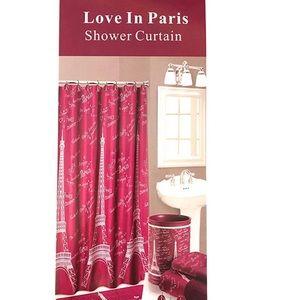 Love In Paris Eiffel Tower Fabric Shower Curtain